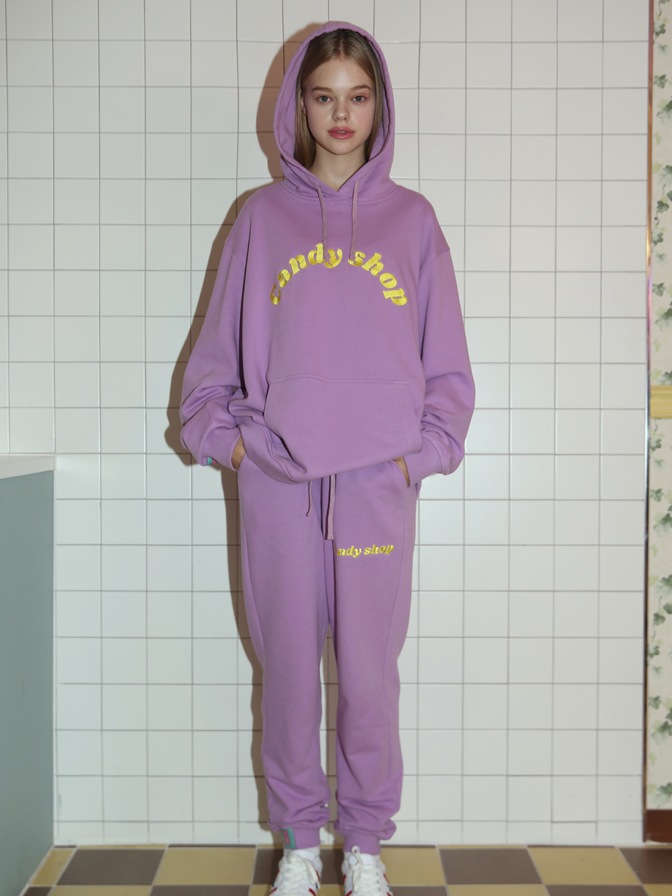 [10%SALE] Candy shop logo sweatpants - PURPLE